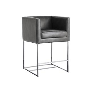 Agency Grey Nobility Leather Counter Stool