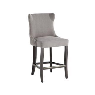 Barbuda Grey Tufted Counter Stool Upholstered Vintage Linen