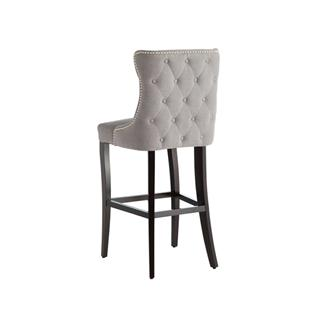 Photo of Barbuda Grey Tufted Bar Stool Upholstered Vintage Linen