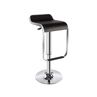 Photo of Cain Black Backless Bar Stool with Chrome Base