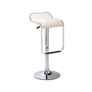 Photo of Cain White Backless Bar Stool with Chrome Base