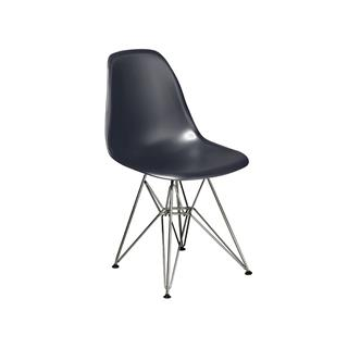 Photo of Cairo Dark Grey Plastic Chair with Chrome Base