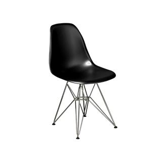 Photo of Cairo Black Plastic Chair with Chrome Base