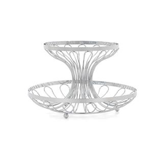 2 Tier Chrome Plated Wire Fruit Bowl