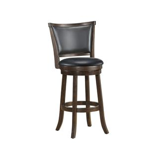 Photo of Cabot Dark Walnut Leather Swivel Counter Stool