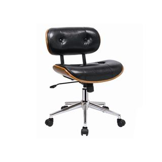Photo of Jag Black Leather Office Chair with Walnut Accents