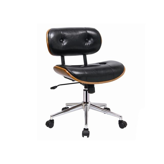 jag black leather office chair with walnut accents